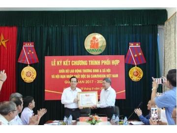 Chương trình phối hợp công tác giai đoạn 2017-2020 giữa Hội Nạn nhân chất độc da cam/dioxin Việt Nam và Bộ Lao động, Thương Binh và Xã hội.