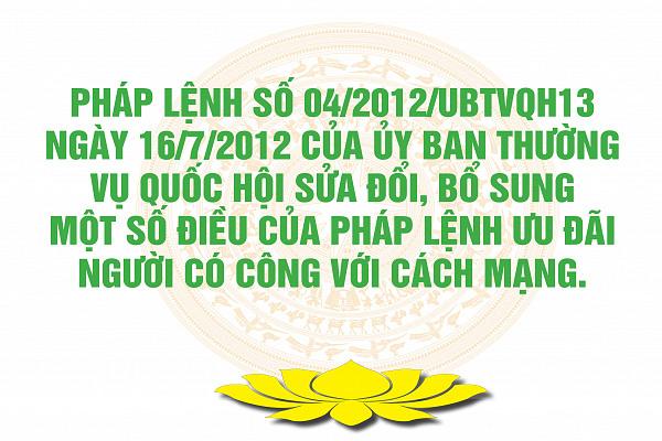 Pháp lệnh số 04/2012/UBTVQH13 ngày 16/7/2012 của Ủy ban Thường vụ Quốc hội Sửa đổi, bổ sung một số điều của Pháp lệnh Ưu đãi người có công với cách mạng.