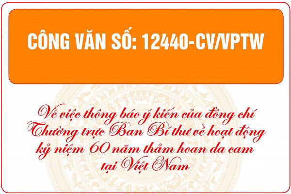 Thông báo ý kiến của đồng chí Thường trực Ban Bí thư về hoạt động kỷ niệm 60 năm Thảm họa da cam ở Việt Nam