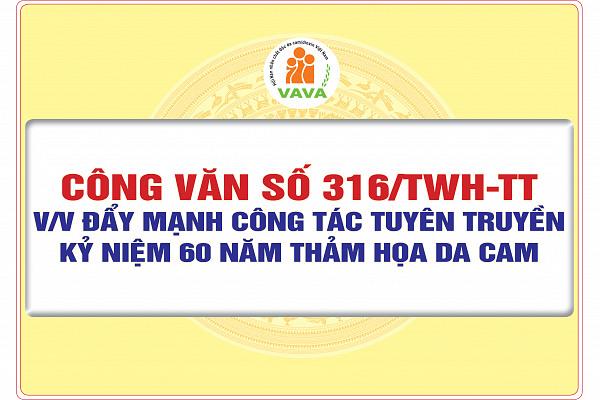Công văn số 316/TWH-TT về việc đẩy mạnh công tác tuyên truyền kỷ niệm 60 năm thảm họa da cam