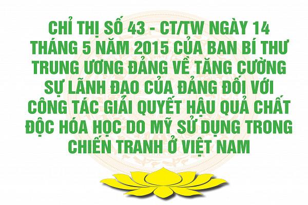 Chỉ thị số 43 - CT/TW ngày 14 tháng 5 năm 2015 của Ban Bí thư Trung ương Đảng