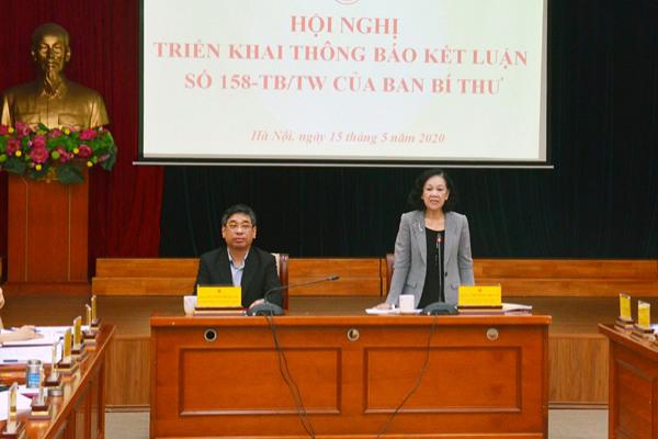 Ban Dân vận Trung ương: Hội nghị triển khai Thông báo Kết luận số 158-TB/TW của Ban Bí thư